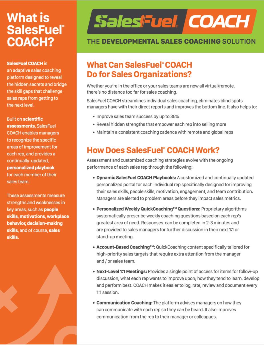 SalesFuel COACH Fsales coaching solution Fact Sheet