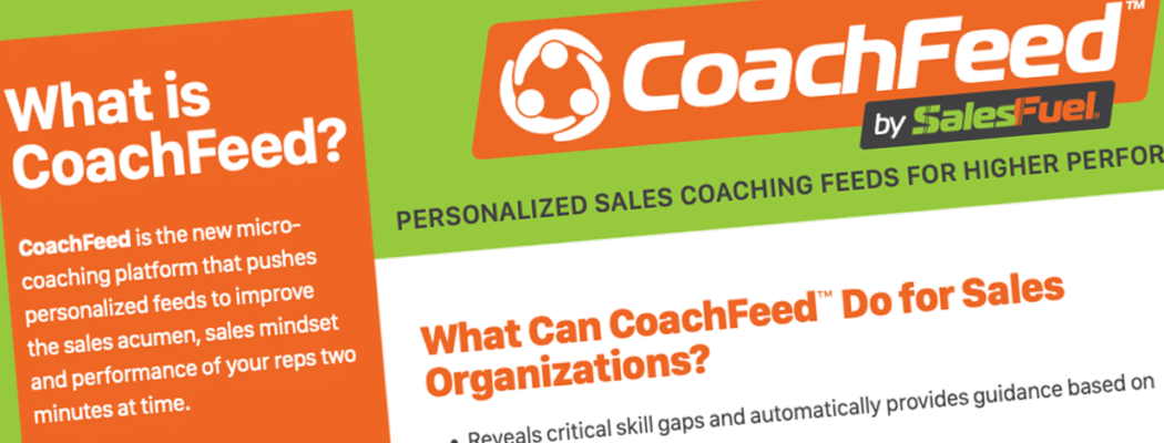 CoachFeed sales coaching software - microcoaching SaaS fact sheet from SalesFuel