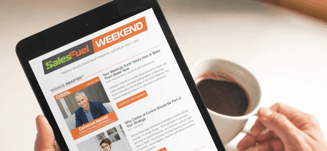 SalesFuel Weekend newsletter for sales management and sales leaders
