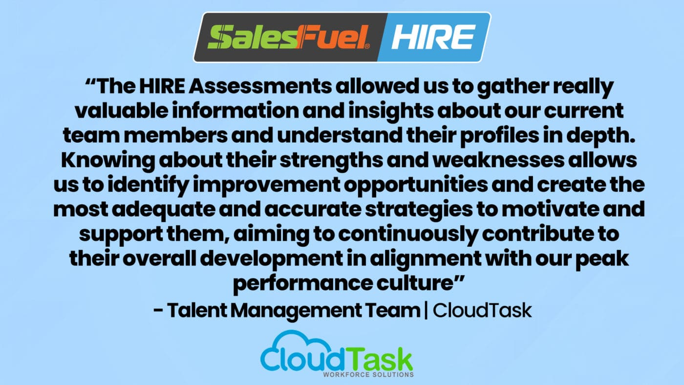 CloudTask on SalesFuel HIRE sales hiring test for hiring salespeople